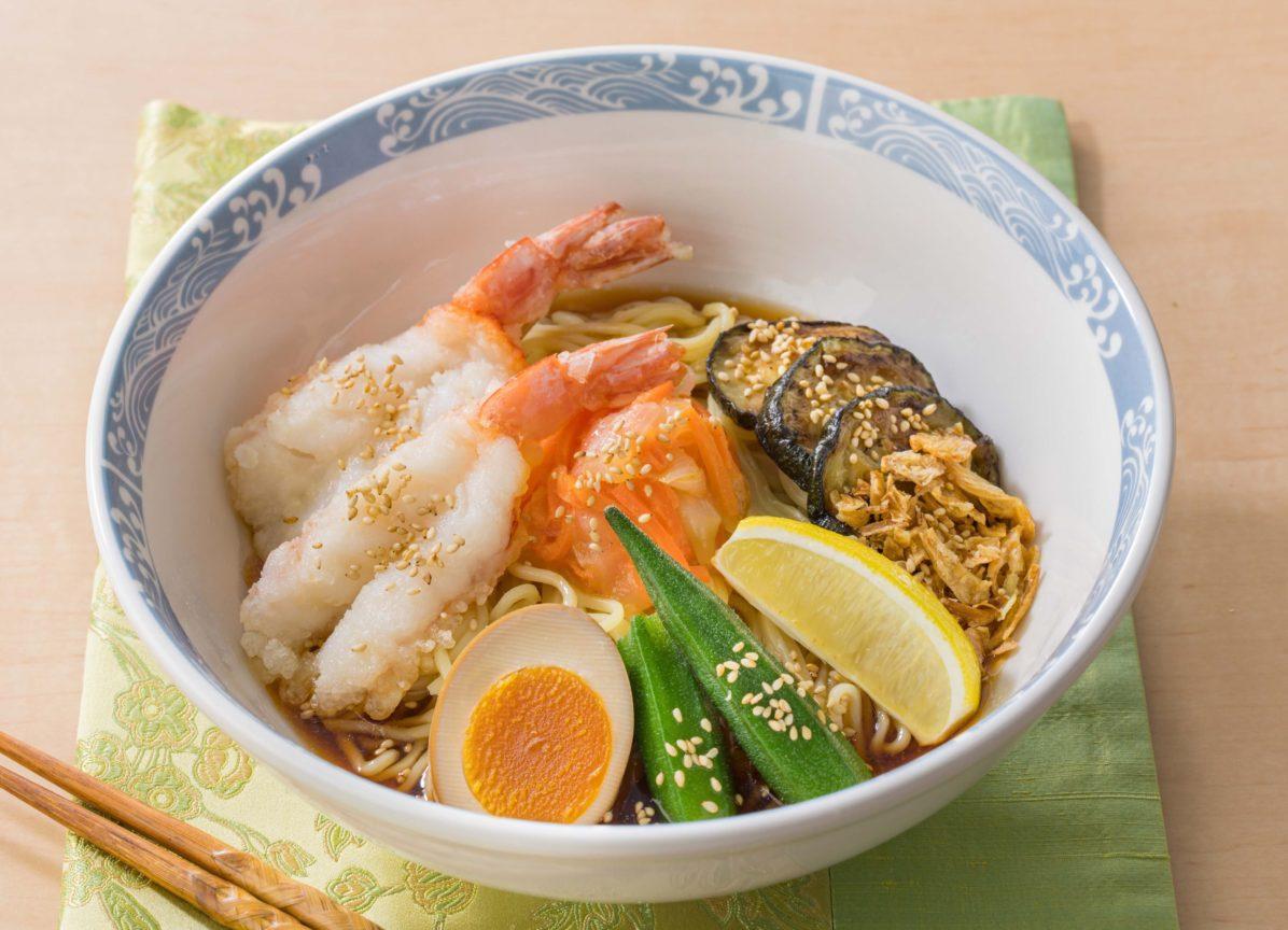 天然海老と夏野菜のレモン冷やし中華